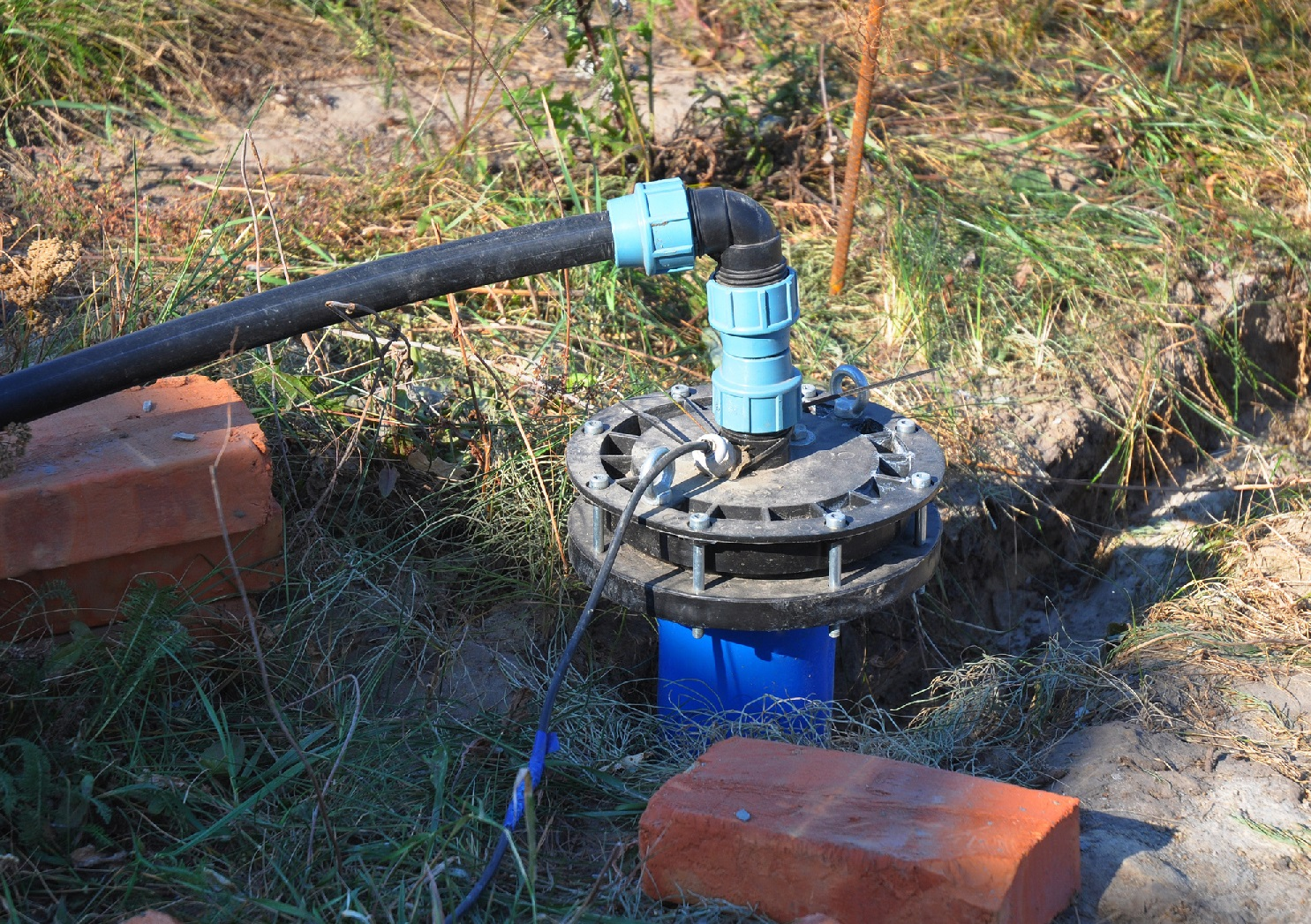 New Installed Water Bore. Pumping air from compressor into ...
